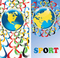Earth with hearts in olympic colors banners vector planet is surrounded by the ornament of the vertical illustration games Stock Photos