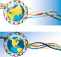 Earth with hearts and olympic tapes planet is surrounded by the ornament of in the colors gorizontal banners vector illustration Stock Image