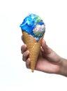 Earth ice cream melting isolated on white background Royalty Free Stock Photos