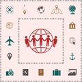 Earth icon. Communication around the world concept. Global community Royalty Free Stock Photo