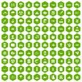 100 earth icons hexagon green