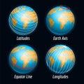 Earth icons with latitudes longitudes lines Royalty Free Stock Photo