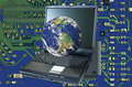 Earth Image over a Laptop Computer Stock Photo