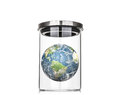 Earth inside a glass jar elements of this image furnished by na nasa on white background Stock Photography