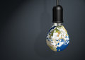 Earth lamp,  innovation Energy Save Concept with copy space Royalty Free Stock Photo