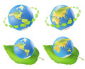 Earth with leaves eco vector illustration Royalty Free Stock Photo