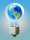 Earth light bulb concept Stock Image