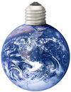 Earth with lightbulb screw base Royalty Free Stock Photography