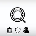 Earth with magnifying glass search icon, vector illustration. Fl