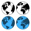 Earth map set isolated on white vector illustration Stock Photography