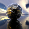 Earth model with reflection on Royalty Free Stock Photo