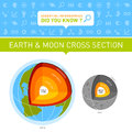 Earth and moon cross section infographic chart with web icons displaying sections Royalty Free Stock Images