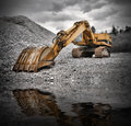 Earth Mover near water Royalty Free Stock Photo