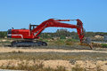 Earth moving heavy plant machinery with tracks a spanish digging machine Royalty Free Stock Photo