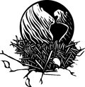 Earth nest woodcut style image of the resting in a birds Stock Images