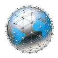 Earth net the planet surrounded by a grid of silver spheres and tubes Stock Photography