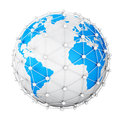 Earth net the planet surrounded by a grid of white spheres and tubes Royalty Free Stock Image