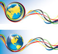 Earth with olympic rings and tape banners vector planet the around ribbons the colors horizontal banner games Stock Photo