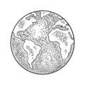 Earth planet globe. Vector black vintage engraving illustration Royalty Free Stock Photo