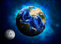 Earth planet and moon elements of this image are furnished by nasa Stock Photography
