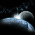 Earth planet in space with moon Royalty Free Stock Photo