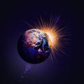 Earth planet in sun rays elements of this image are furnished by nasa Stock Image