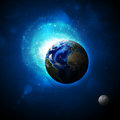 Earth planet in sun rays elements of this image are furnished by nasa Royalty Free Stock Image