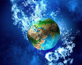 Earth planet under water Royalty Free Stock Photo