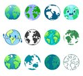 Earth planet vector global world universe and worldwide earthly universal globe illustration worldly set of earthed Royalty Free Stock Photo