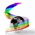 Earth with rainbow arrows Royalty Free Stock Photo