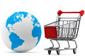 Earth with a Shopping cart Stock Image