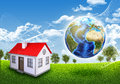 Earth small house green grass and trees elements of this image are furnished by nasa Royalty Free Stock Photo