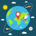 Earth in space banner with rocket, sun, moon, plane, helicopter, paper airplane drone, clouds and map pin. Poster with planet. Royalty Free Stock Photo
