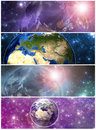 Earth in the space banners four elements of this image furnished by nasa Stock Image
