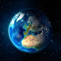 Earth in the space universe background europe images nasa focus on Stock Photo