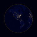 Earth sphere lights of cities North and South America. Vector Royalty Free Stock Photo