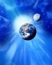 País sol y mes en espacio