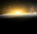 Earth and sunlight in galaxy element finished by nasa Royalty Free Stock Photo
