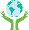 Earth supported by hands. Vector illustration Stock Photos