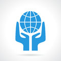 Earth supporting hands icon