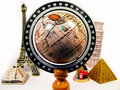 Earth  surrounded by monuments Royalty Free Stock Photo