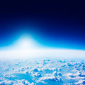 Earth View from Space. Dark Blue Sky and Clouds. Royalty Free Stock Photo