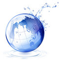 Earth and water drop Stock Image