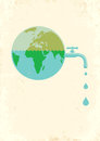 Earth with water tap illustration of Stock Images
