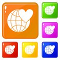 Earth world globe with heart icons set vector color Royalty Free Stock Photo