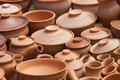 Earthen clay vases many pots kept for drying in the sun Stock Photography