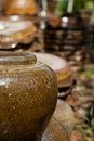 Earthen jar in the garden Stock Photography