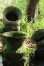 Earthen jar tropical garden decoration Royalty Free Stock Photo