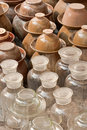 Earthenware and glass jars Royalty Free Stock Image