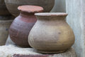 Earthenware handmade old clay pots in Ratchaburi. Royalty Free Stock Photo